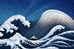 japanese wave wellen, Desktophintergrund