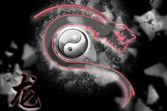 yin yang dragon Desktophintergrund